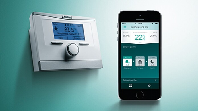 Display van de multiMATIC thermostaat met smartphone-app.