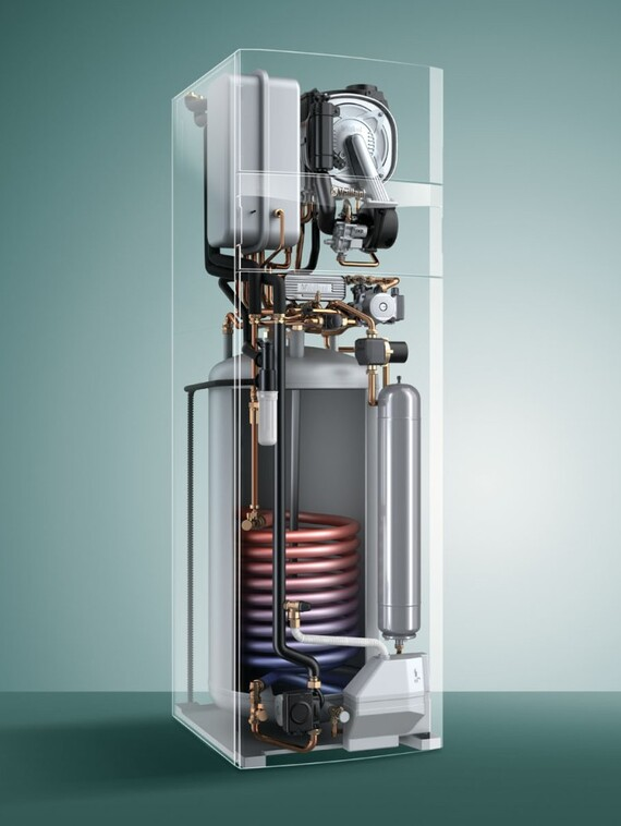 Chaudière sol à condensation avec boiler solaire intégré auroCOMPACT VSC D