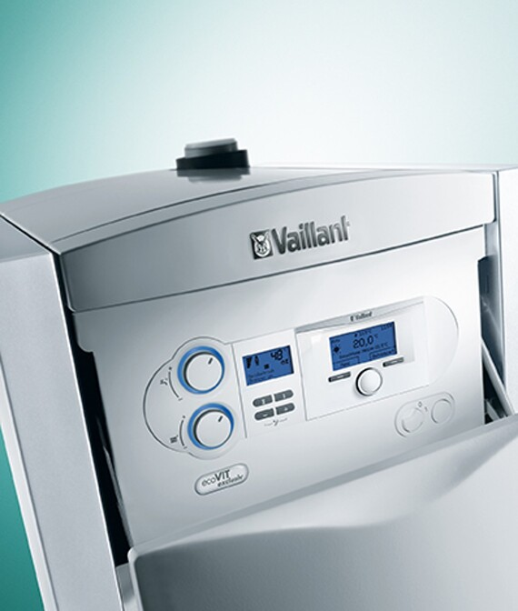 Condensatievloerketel op gas ecoVIT exclusiv, hier gecombineerd met een actoSTOR boiler die warm water levert.