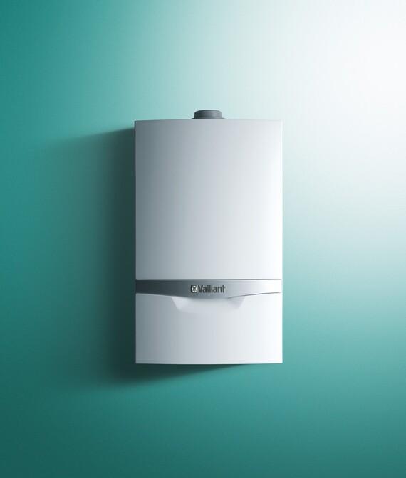 Vooraanzicht van de ecoTEC plus VC 48-65 kW condensatieketel op gas