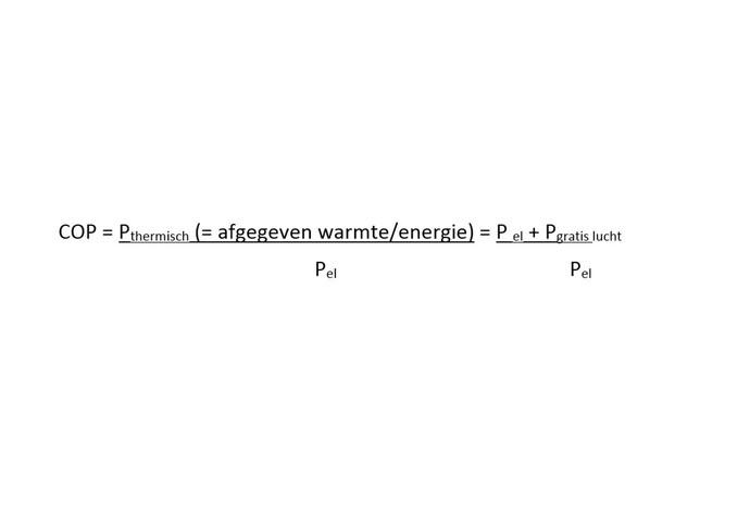Formule voor het berekenen van de COP van een warmtepomp